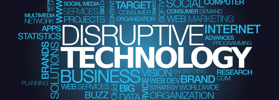 Disruptive technology innovation revolution word tag cloud